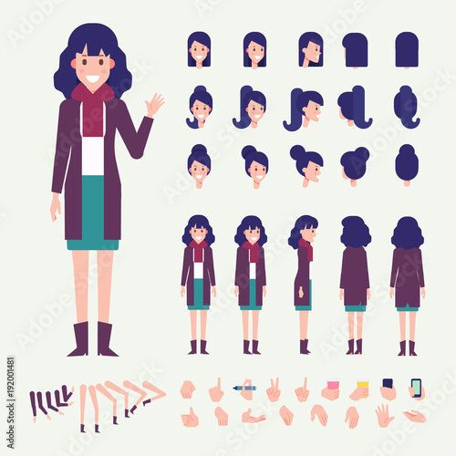 Flat Vector Young Woman character Character creation set with