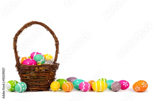 Easter basket with long border of colorful hand painted Easter Eggs
