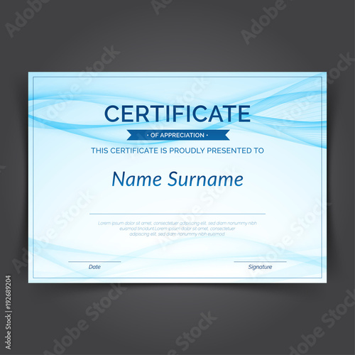 Blue abstract swoosh futuristic lines certificate layout design - certificate layout