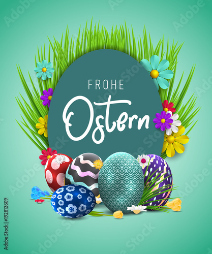 Bunte Ostereier Frohe Ostern Happy easter image vector Modern