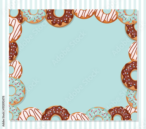 Sweet bakery design template Cartoon donut frame on pastel blue - donut template