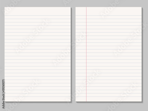 Set of realistic blank sheets of lined paper - vector isolated - blank sheet of paper with lines
