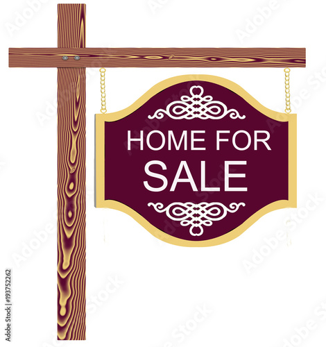 Fancy Home For Sale Sign Sold for Realtor or Owner of Real Estate