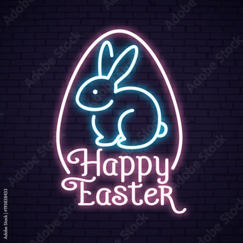 Happy Easter Sunday neon lettering\