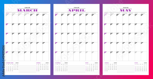 Calendar planner template for spring 2018 March, April, May Design