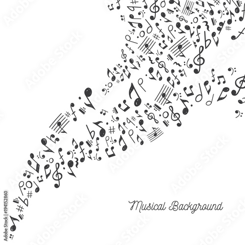 Music Background in Black and White\