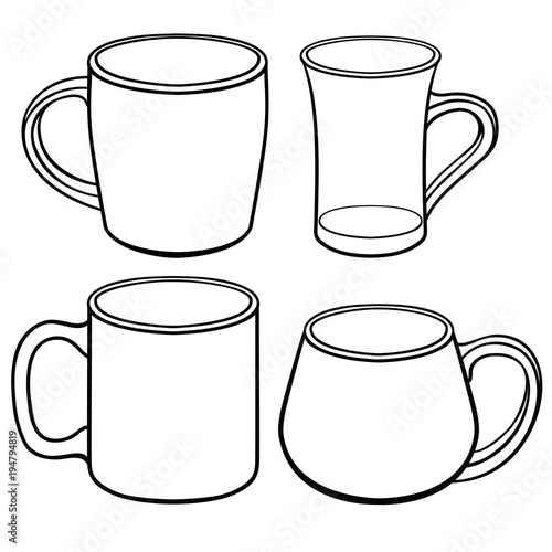 Cups and mugs for tea of different shapes A set of templates Line