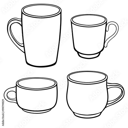 Cups and mugs for coffee of different shapes A set of templates