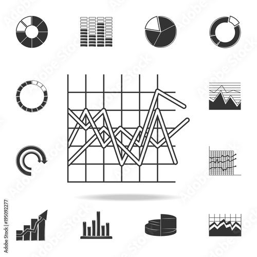 line graph type chart icon Detailed set of Trend diagram and chart