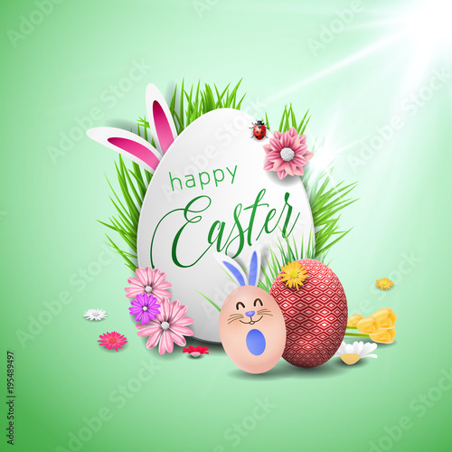 Happy easter image vector Vector modern easter eggs background - easter greeting card template