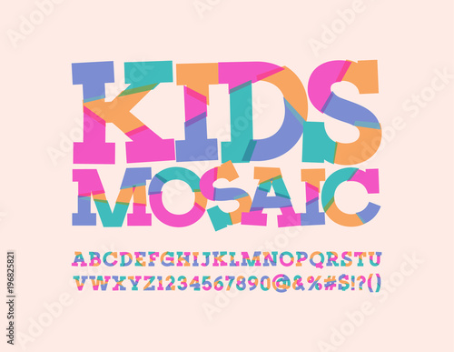 Vector Abstract pattern sliced Font for Children Kids mosaic