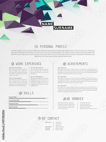 Creative simple cv template with triangle shapes in header\