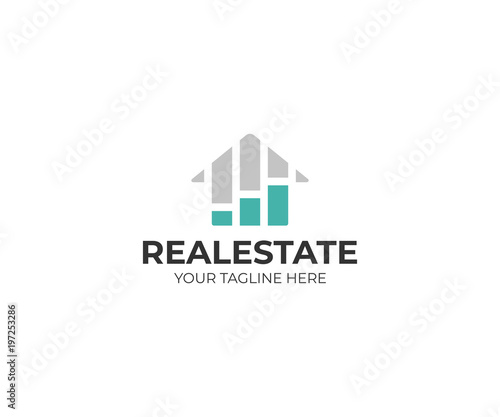 Housing market logo template Real estate stock market vector design