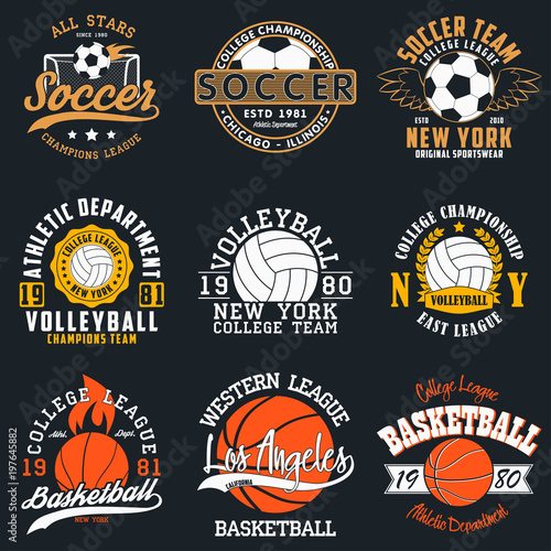 Sports game typography - soccer, volleyball and basketball Set of
