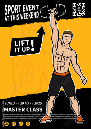 Athlete lifts dumbbell vector poster template Sportsman does