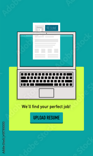 Submit/Upload Resume Concept Vector illustration of laptop and