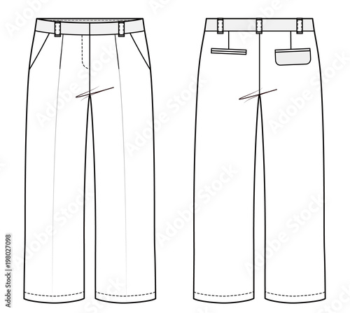 Pants fashion flat technical drawing template\