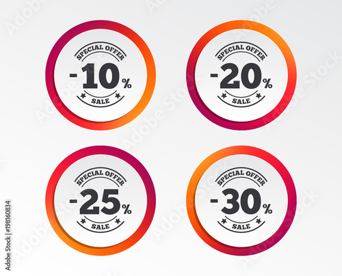 Sale discount icons Special offer stamp price signs 10, 20, 25 and