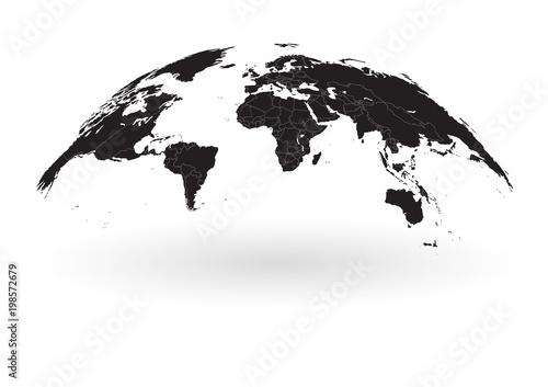 black world map globe isolated on white background\