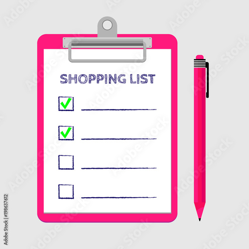 Pink clipboard with shopping list and pen Template for product
