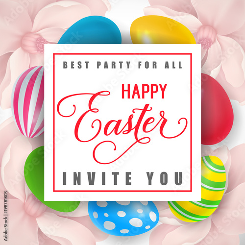 Best Party for All Happy Easter Invites You lettering in frame