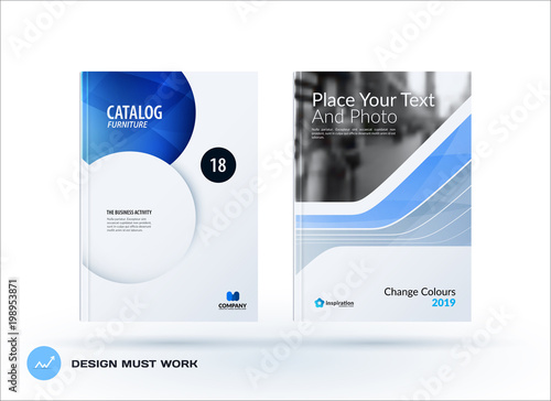 Creative design of blue business brochure set, abstract horizontal - design cover