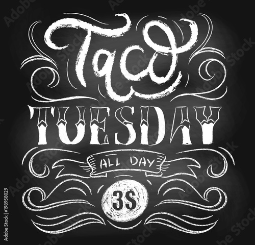 Taco tuesday chalkboard vector poster with lettering and flourishes