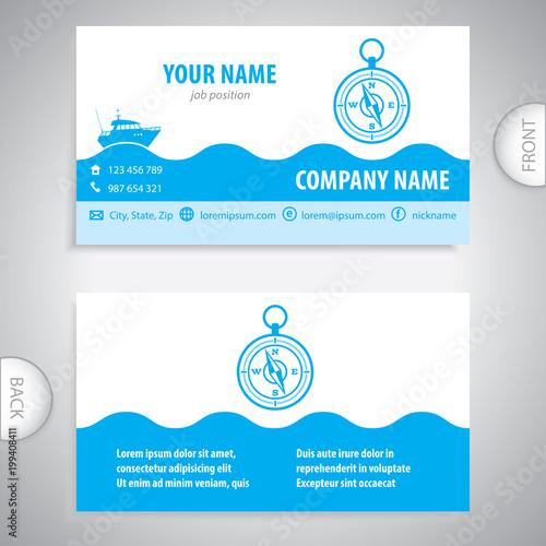 business card - Navigation compass - maritime symbols - company