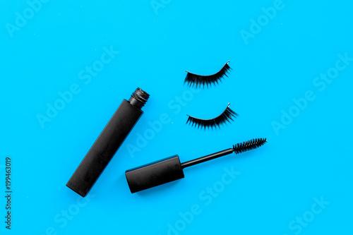 Basic products for eyelashes makeup Mascara and false eyelashes on