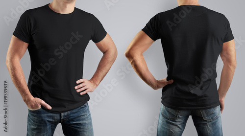 Mockup black t-shirt on strong man on gray background Front view