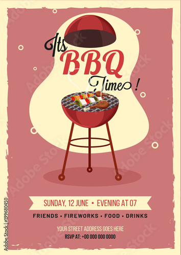 Barbecue Poster, Flyer, Template or Invitation Design\