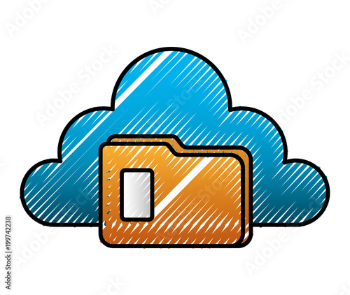 cloud storage folder file archive image vector illustration\