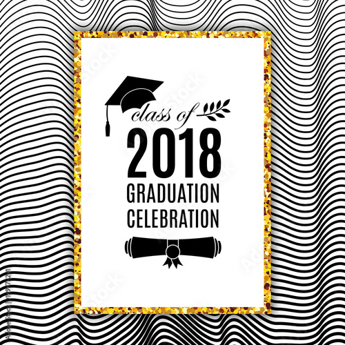 Graduation celebration 2018 class of greeting card with hat, scroll