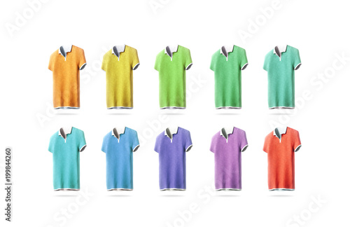 Blank colorful polo shirt mockup set, isolated, front side view, 3d