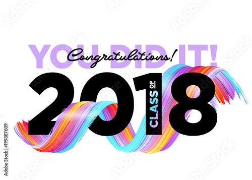 Congratulations Graduates Class of 2018 Vector Logo Creative Party