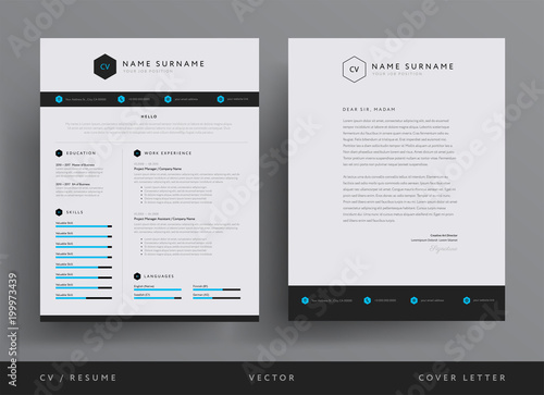 Professional CV resume template design and letterhead / cover letter - resume with accents