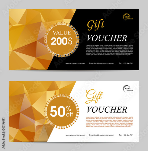 Two gold polygonal gift voucher vector template\