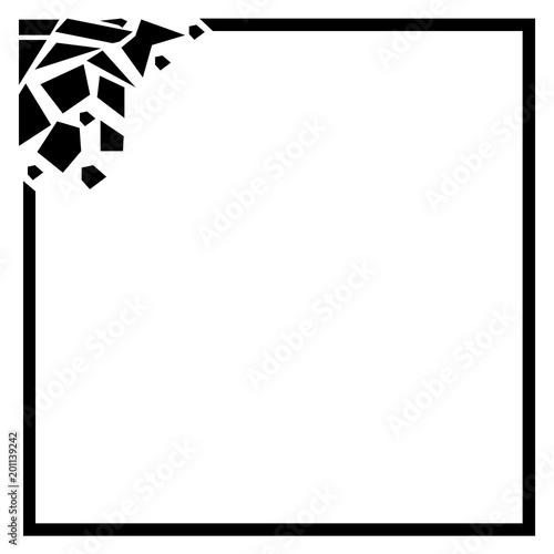 Cracked rectangular frame, Black frame on white background Black