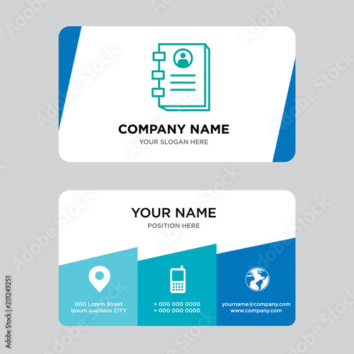 Contact book business card design template\