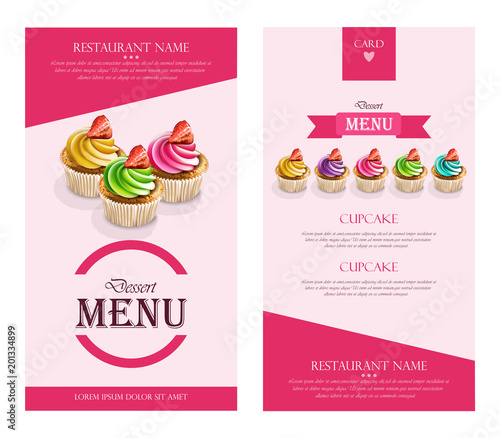 Dessert Menu Cupcakes Vector realistic banner frame layout template