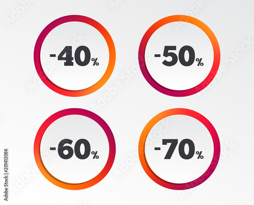 Sale discount icons Special offer price signs 40, 50, 60 and 70