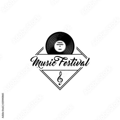 Vinyl record, treble clef Music Festival logo template Musical - treble clef template