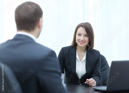 Successful job interview with boss and employee handshaking\