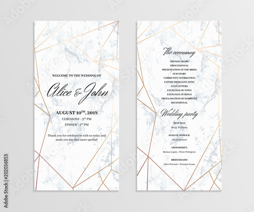 Double-sided wedding program template Geometric design in rose gold