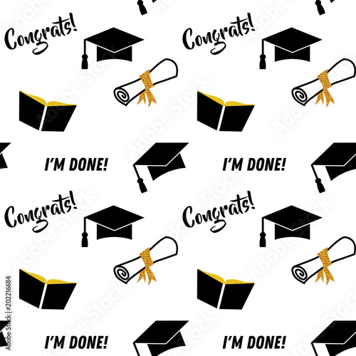 Graduation seamless pattern Black and golden vector background for