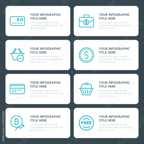 Flat money, shopping infographic timeline template for presentations - advertising timeline template