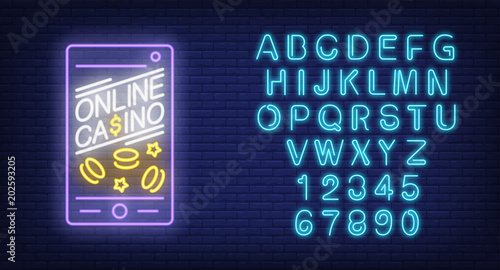 Online casino and alphabet neon sign set Phone screen with chips