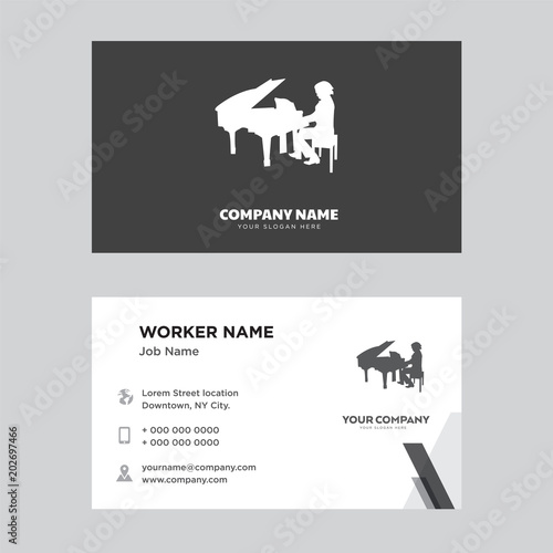 piano player business card design\