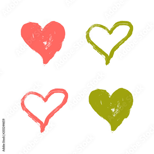 Vector Illustration Hand draw heart using paint Template set of