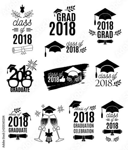 Graduate 2018 labels design set Concept for shirt, print, seal